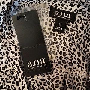 a.n.a Tops - a.n.a. Black White Animal Print High Low Blouse.